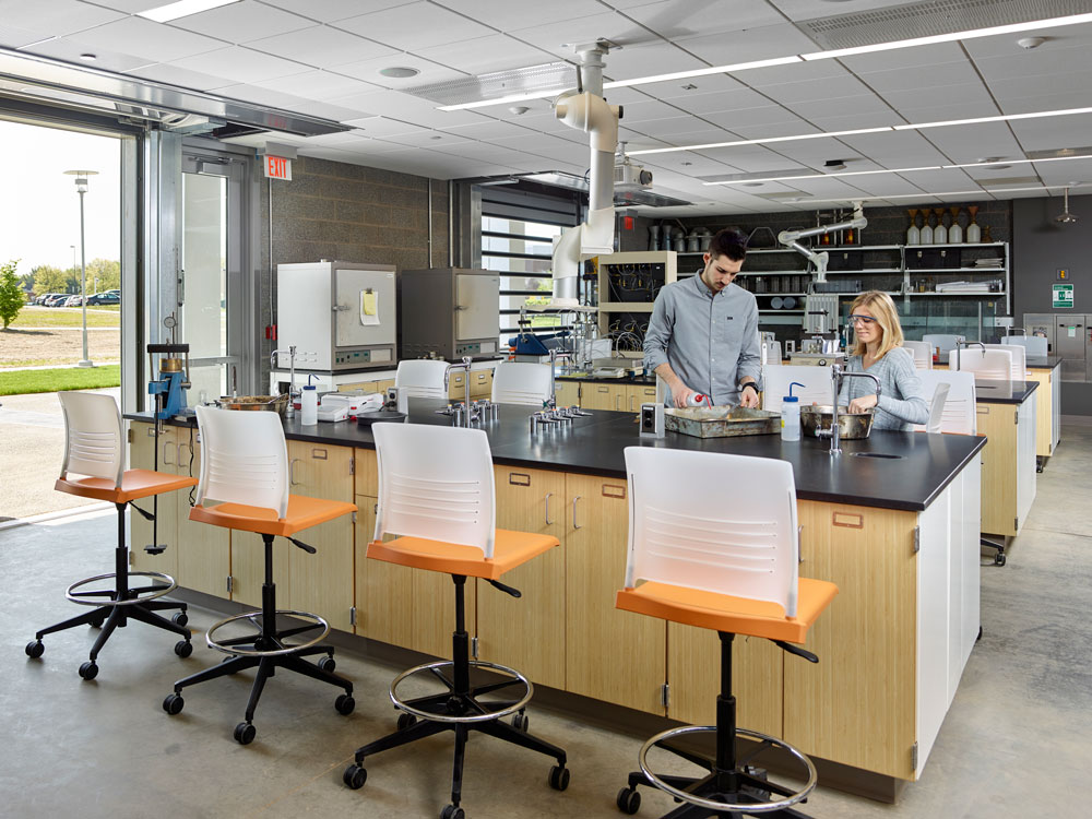 Two students working in one of the new engineering labs